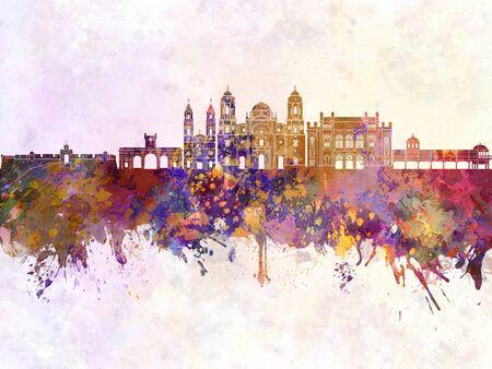 cadiz: Cadiz skyline in watercolor background
