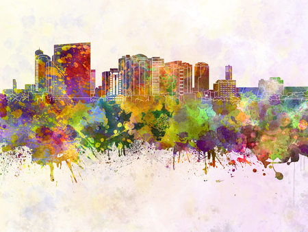 Chiba skyline in watercolor background