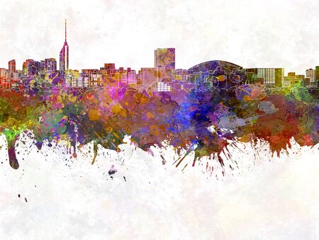 Fukuoka skyline in watercolor background