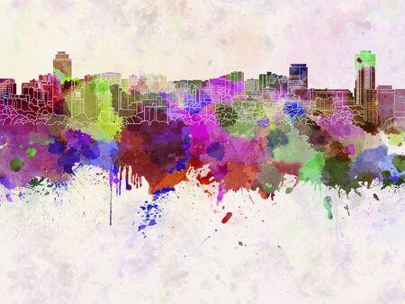 hamilton: Hamilton skyline in watercolor background Stock Photo