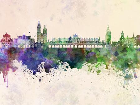 Krakow skyline in watercolor background Stock Photo