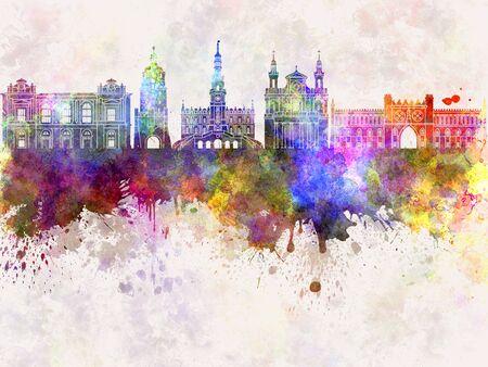 lublin: Lublin skyline in watercolor background