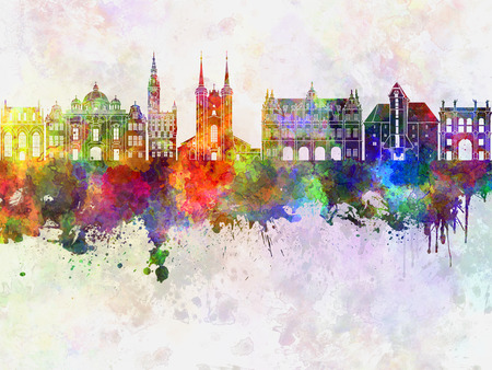 gdansk: Gdansk skyline in watercolor background