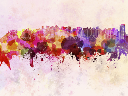 Curitiba skyline in watercolor background Zdjęcie Seryjne