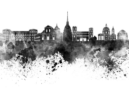 monuments: Turin skyline in black watercolor on white background Stock Photo