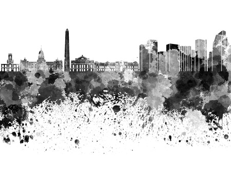 Buenos Aires skyline in black watercolor on white background