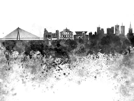 Warsaw skyline in black watercolor on white background