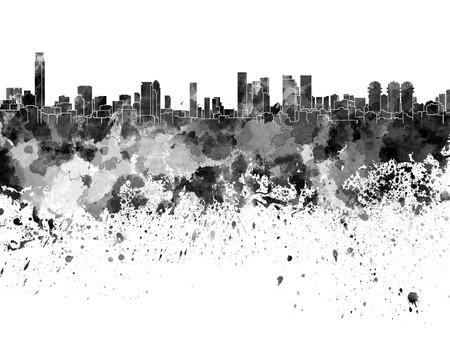 aviv: Tel Aviv skyline in black watercolor on white background Stock Photo