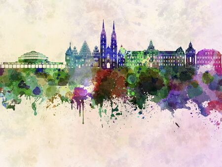 wroclaw: Wroclaw skyline in watercolor background Stock Photo