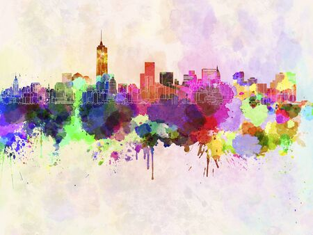 manhattan skyline: Manhattan skyline in watercolor background