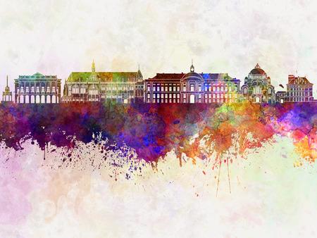 liege: Liege skyline in watercolor background