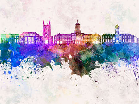 columbia: Columbia skyline in watercolor background