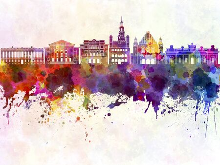 poland: Poznan skyline in watercolor background