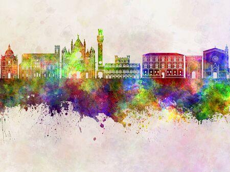 Siena skyline in watercolor background Stock Photo