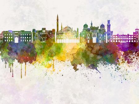 alexandria: Alexandria skyline in watercolor background Stock Photo