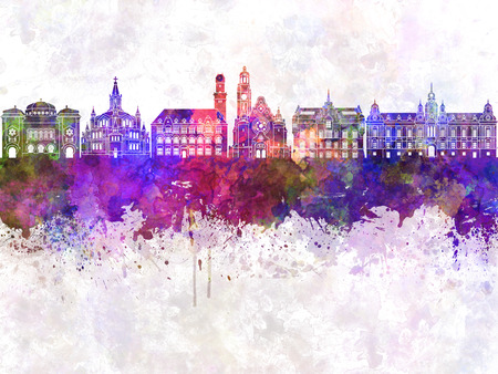 Malmo skyline in watercolor background