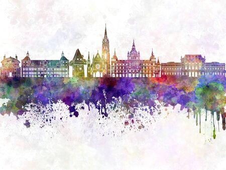 Graz skyline in watercolor background