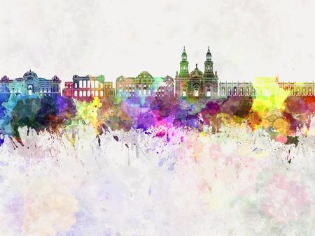 santiago: Santiago de Chile V2 skyline in watercolor background Stock Photo