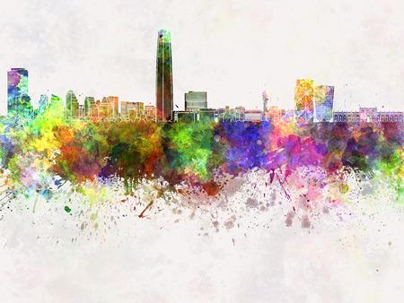 santiago: Santiago de Chile skyline in watercolor background
