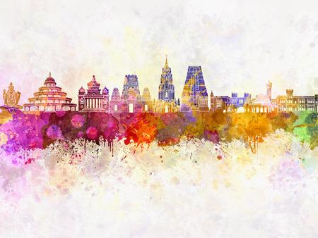 水彩画背景でバンガロール スカイライン
