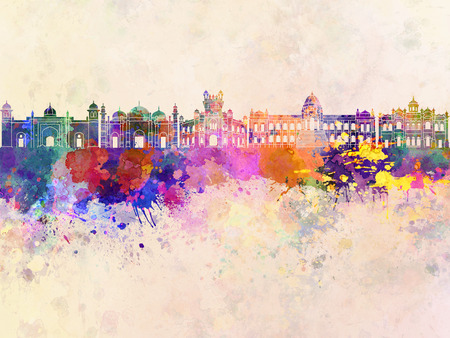 dhaka: Dhaka skyline in watercolor background