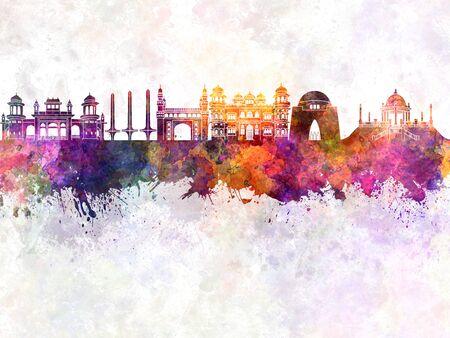 monumento: horizonte de Karachi, en el fondo de la acuarela Foto de archivo
