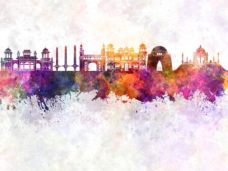 monuments: Karachi skyline in watercolor background