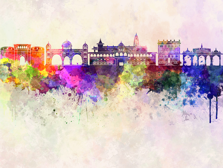 pune: Pune skyline in watercolor background