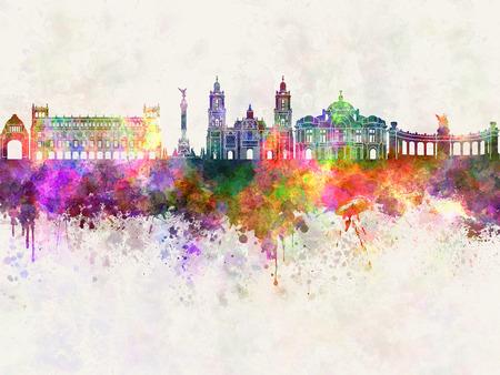 水彩画背景でメキシコシティ V2 スカイライン 写真素材