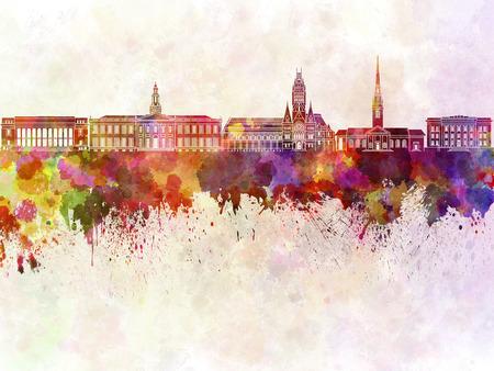 Harvard skyline in watercolor background Фото со стока - 52512343