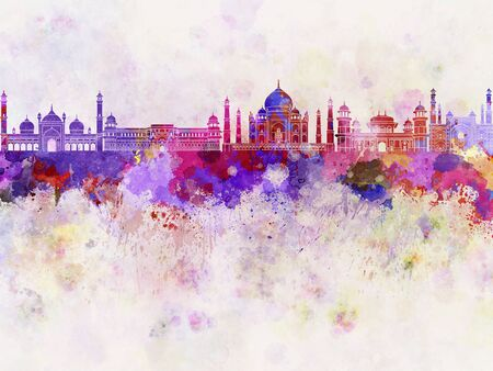 agra: Agra skyline in watercolor background Stock Photo