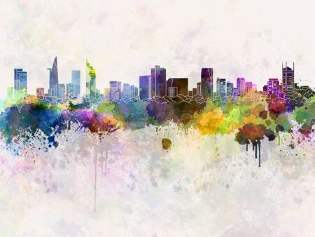 chi: Ho Chi Minh skyline in watercolor background