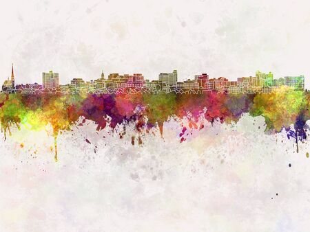 watercolour: South Portland skyline in watercolor background