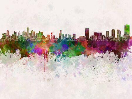 monterrey: Monterrey skyline in watercolor background Stock Photo