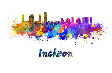 incheon: Incheon skyline in watercolor splatters with clipping path