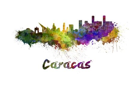 south america: Caracas skyline in watercolor splatters with clipping path