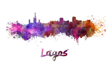 Lagos skyline in watercolor splatters with clipping path Stock Photo