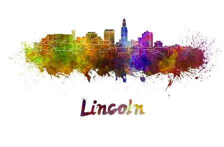 lincoln: Lincoln skyline in watercolor splatters