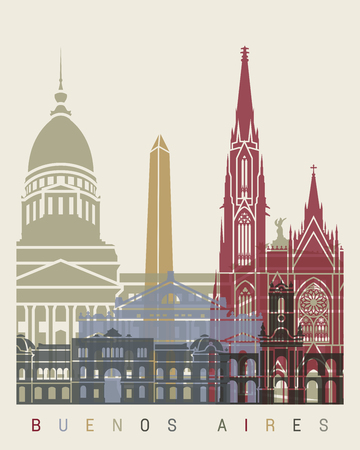 aires: Buenos Aires skyline poster in editable vector file