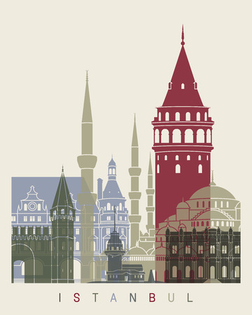 turkey istanbul: Istanbul skyline poster in editable vector file Illustration