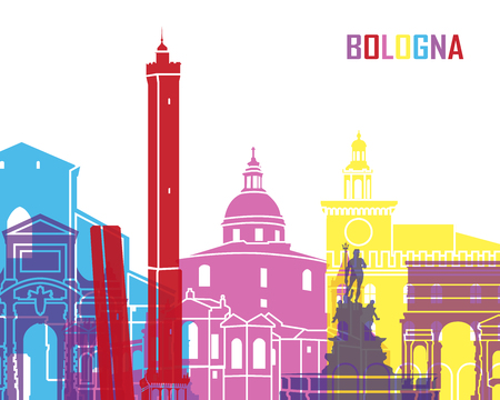 bologna: Bologna skyline pop in editable vector file