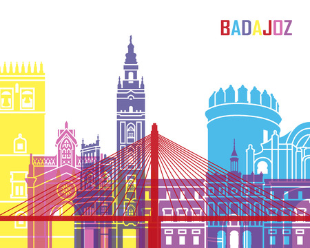 badajoz: Badajoz skyline pop in editable vector file Illustration