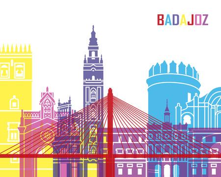badajoz: Badajoz skyline pop in editable vector file Illustration