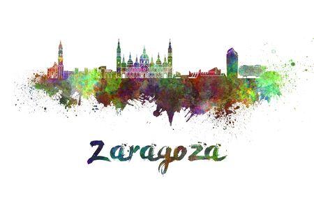 zaragoza: Zaragoza skyline in watercolor splatters