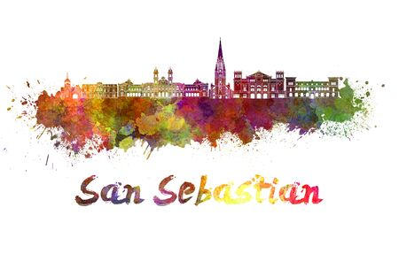 san sebastian: San Sebastian skyline in watercolor splatters Stock Photo