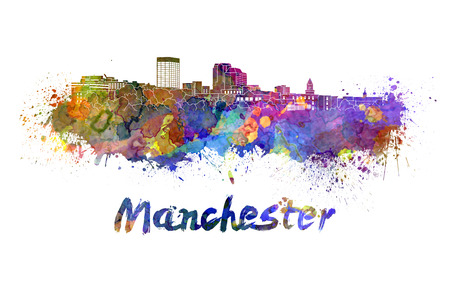 Manchester NH skyline in watercolor splatters