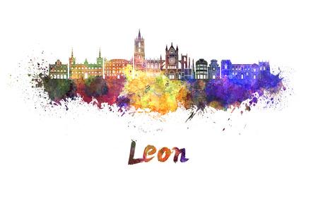 leon: Leon skyline in watercolor splatters Stock Photo