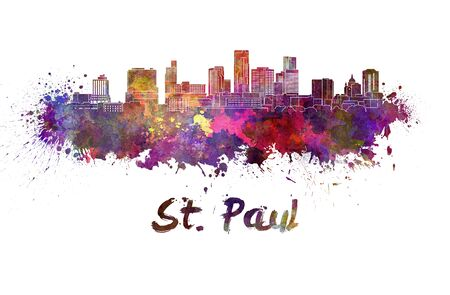 Saint Paul skyline in watercolor splatters Stock Photo