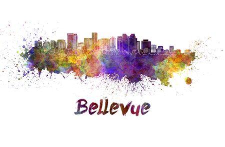 bellevue: Bellevue skyline in watercolor splatters