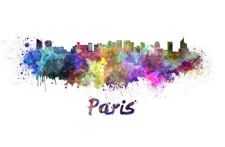 paris france: Paris skyline in watercolor splatters Stock Photo